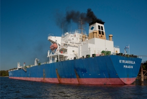 Cargo Ship on the Mississippi River